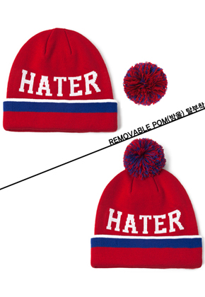 HATER헤이터 Baller Removeable Red Beanie