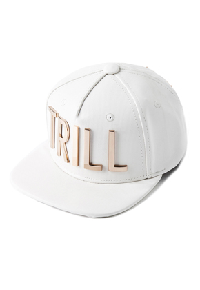 HATER헤이터 Gold Metal Trill Grain Leather Snapback White