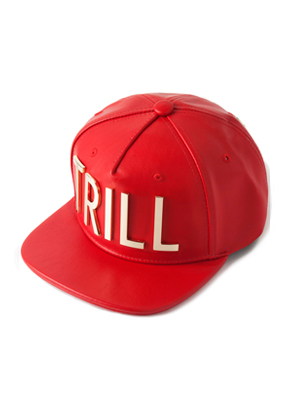 HATER헤이터 Gold Metal Trill Grain Leather Snapback Red