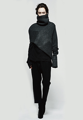 Byungmun Seo병문서 Asymmetrical Texure Coated Knit Cape Gray