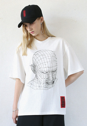 Kitchcock키치콕 GRID FACE T-SHIRT  WHITE