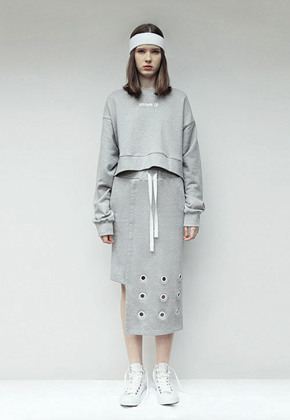 Aticle애티클 Back To Work Eyelet Skirt Gray