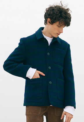 SEC세크 Navy Green  Check Coat