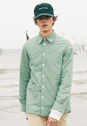 SEC세크 Green Micro-check Padded Shirt Jacket