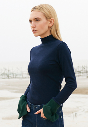 SEC세크 Navy Green Colour-blocked Rib Knitted Top