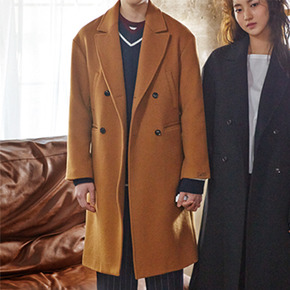 Sewing Boundaries소윙바운더리스 STRAIGHT FIT DOUBLE COAT BROWN