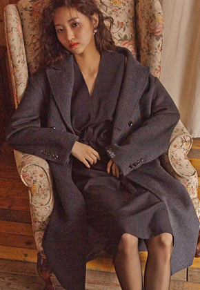 Sewing Boundaries소윙바운더리스 STRAIGHT FIT DOUBLE COAT GRAY