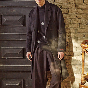 Sewing Boundaries소윙바운더리스 STRAIGHT FIT DOUBLE COAT BLACK