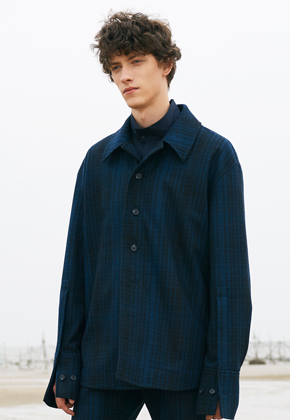 SEC세크 Dark Blue Check Wool Shirt Jacket