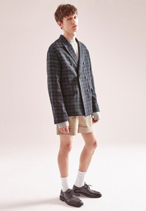 NOHANT노앙 DOUBLE-BREASTED CHECK JACKET GREEN