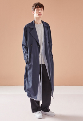 NOHANT노앙 LAYERED TRENCH COAT NAVY