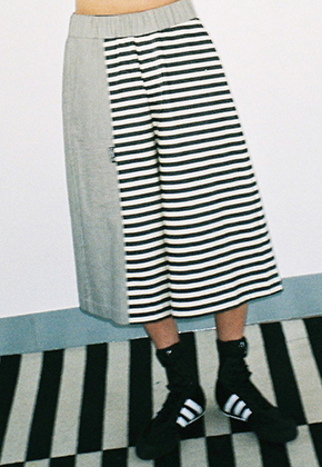 AJO BY AJO아조바이아조 Stripe Twofold Wide Pants (Black/Ivory)