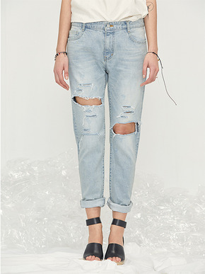 Haleine알렌느 Light Blue Destroyed Jean AB004