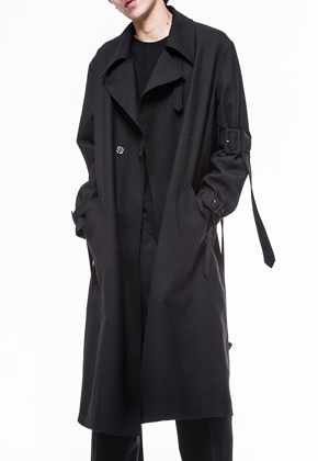 Noirer노이어 Men Belted Wool Trenchcoat