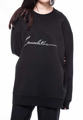 Noirer노이어 Woman Consolation Overfit Sweat Shirts
