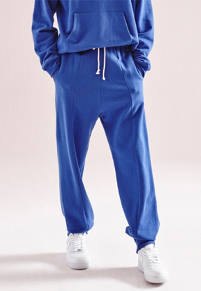 NOHANT노앙 UNBALANCED HEM SWEATPANTS BLUE