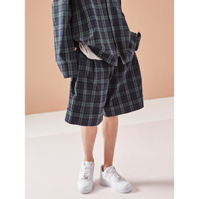 NOHANT노앙 PLEATED CHECK SHORTS GREEN