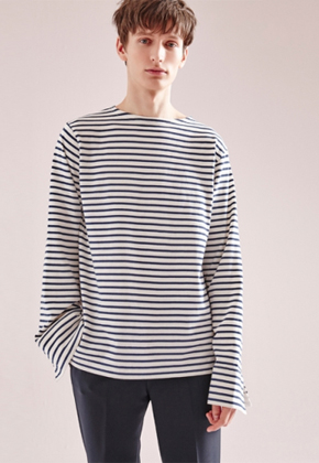 NOHANT노앙 WIDE CUFFS STRIPE T SHIRT BLUE