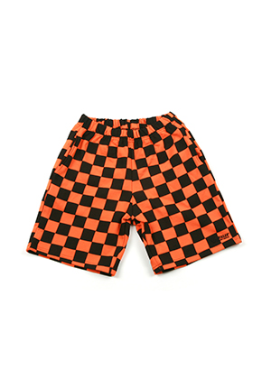 A Piece Of Cake어피스오브케이크 GG Trailer Checkerboard 1/2 Pants_Orange
