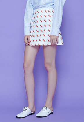 Margarin Fingers마가린핑거스 Bar Print Skirt