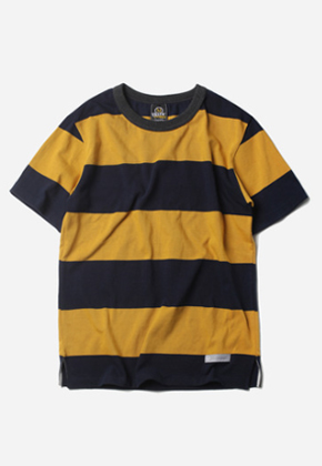 FRIZMWORKS프리즘웍스 Wide Stripe Border Tee Mustard/Navy