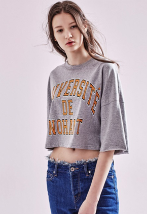 NOHANT노앙 UNIVERSITE DE NOHANT T SHIRT SHORT GRAY