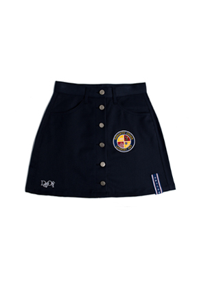 Romantic Crown로맨틱크라운 Day off button skirt_Navy