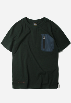 FRIZMWORKS프리즘웍스 D Angulated Pocket T-Shirt Dark green