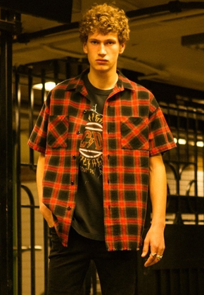 Anderssonbell앤더슨벨 WILSHIRE UNFINISHED CHECK SHIRT atb130m (Red)