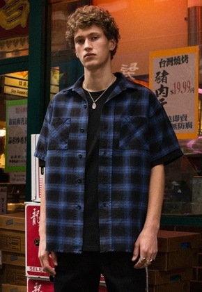 Anderssonbell앤더슨벨 WILSHIRE UNFINISHED CHECK SHIRT atb130m (Blue)