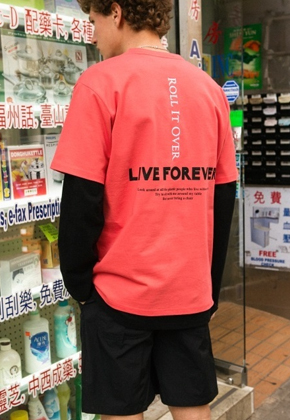 Anderssonbell앤더슨벨 UNISEX LIVE FOREVER T-SHIRT atb145u (Orange Pink)