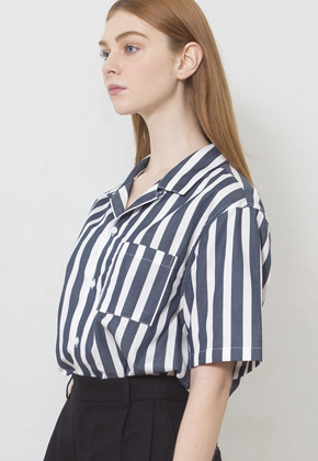 MMGL미니멀가먼츠랩 Open Collar Stripe Shirts Navy