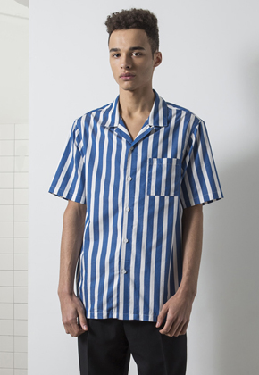 MMGL미니멀가먼츠랩 Open Collar Stripe Shirts Blue