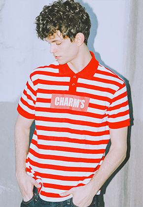 Charm's참스 Stripe PK T-shirts Red