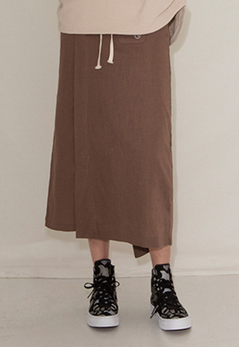 More or Less모어올레스 STRING LONG SKIRTBROWN