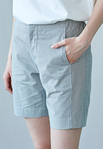 SEC세크 Checked Side-Panel Detail Shorts [UNISEX]