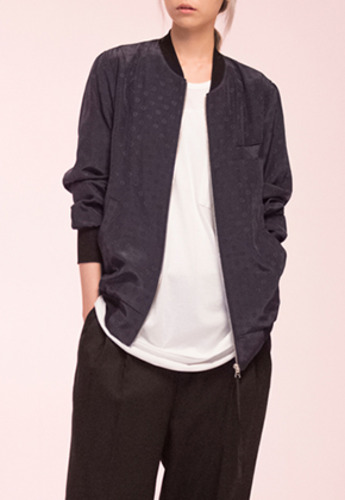Noirer노이어 Woman  Silk Dot Blouson Navy