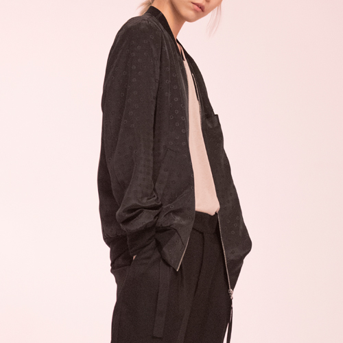 Noirer노이어 Woman  Silk Dot Blouson Black