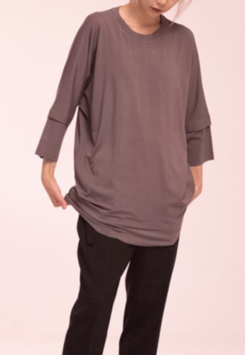 Noirer노이어 Woman Layerd T-shirts Gray