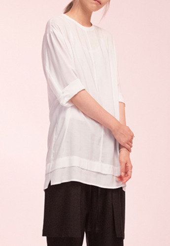 Noirer노이어 Woman Loosefit Middle Tunic Shirts White