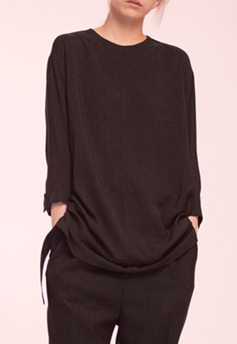 Noirer노이어 Woman Loosefit Middle Tunic Shirts Black