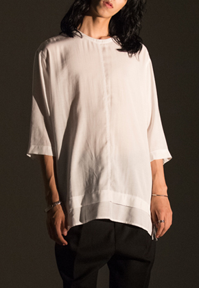 Noirer노이어 MEN Loosefit Middle Tunic Shirts (White)