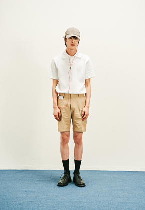 STU에스티유 iphone pocket straight half pants beige