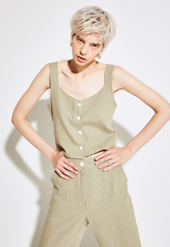 Yan13얀써틴 SIMPLE SHORT SLEEVELESS_KHAKI