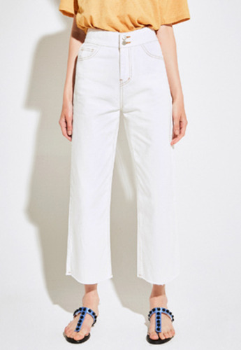 Yan13얀써틴 TWO BUTTON WIDE PANTS_WHITE