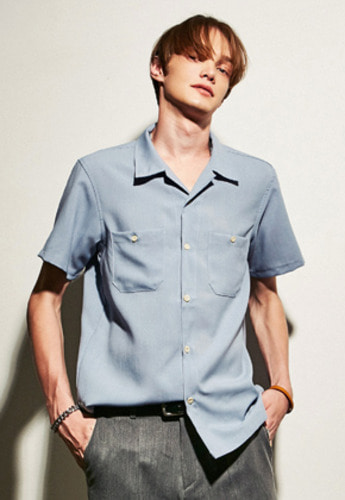Yan13얀써틴 POCKET POINT SHIRTS_SKY BLUE