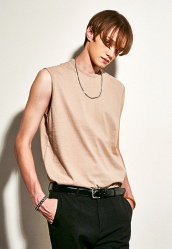 Yan13얀써틴 BASIC DOUBLE SLEEVELESS_BEIGE