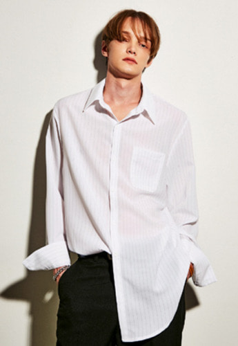 Yan13얀써틴 OVERSIZE STRIPE SHIRTS_WHITE