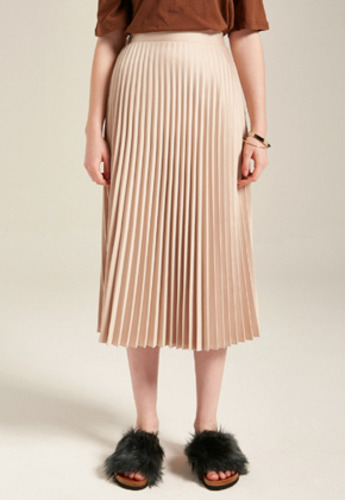 Yan13얀써틴 MID PLEATS SKIRTS_BEIGE