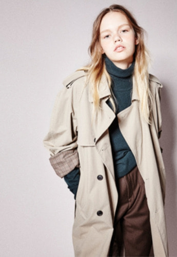 NOHANT노앙 CHECK LINING TRENCH COAT BEIGE